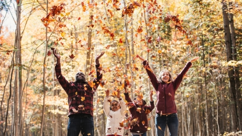 mixed race family of four standing in a forest with multi-colored leaves falling around them, hands in the air, smiling, jumping