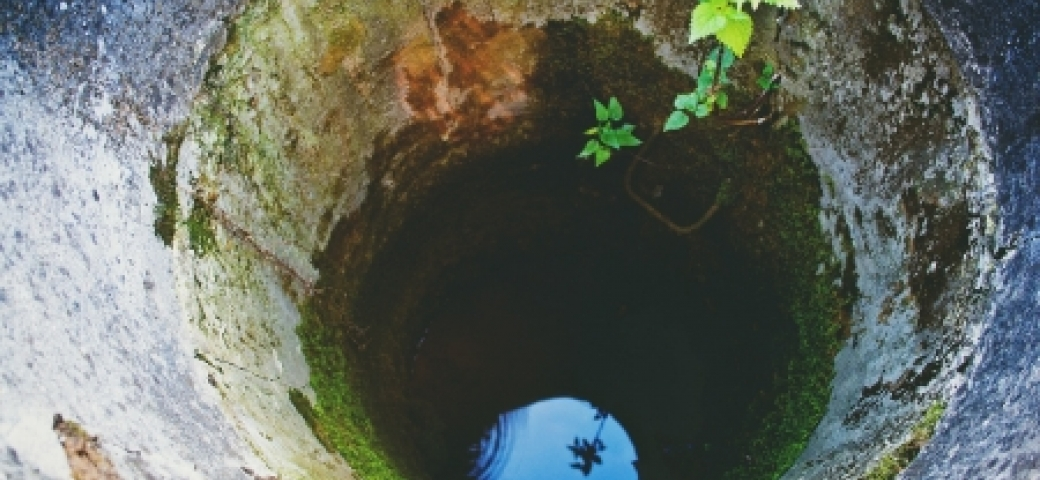 water at the bottom of a well