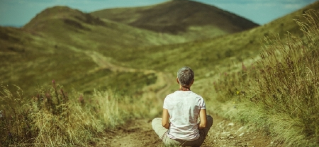 person sitting on grassy area looking at mountains