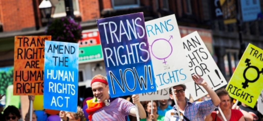 protest showing signs that say trans rights now and others
