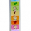 a child's mezuzah, multi colored with cartoon children, letter shin, and symbols