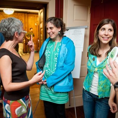 three female reconstructionist jews hanging out and chatting