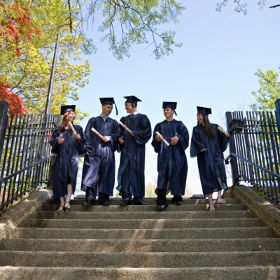graduates in cap and gown