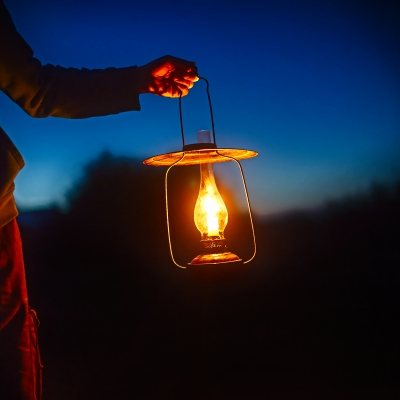 person holding lit lantern in the dark