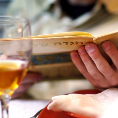 A haggadah is being held in the hands of a light skinned person with a glass of orange colored wine out of focus in front of them