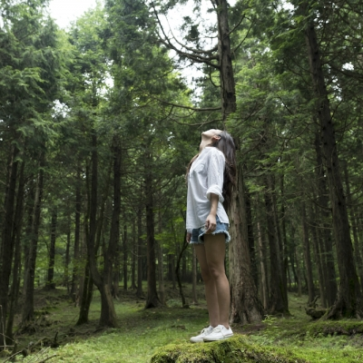 person in forest looking up at sky