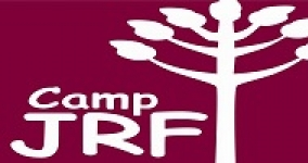 camp JRF logo; maroon background with tree and camp JRF letters