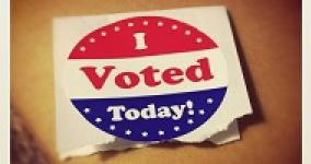 "picture of round red, white and blue ""I voted today"" sticker"