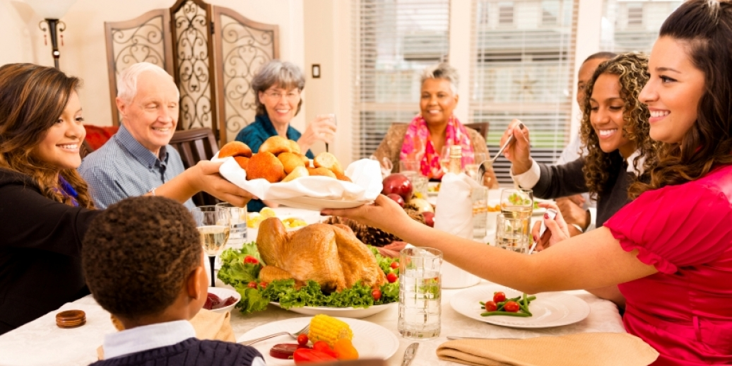 diverse family holiday dinner