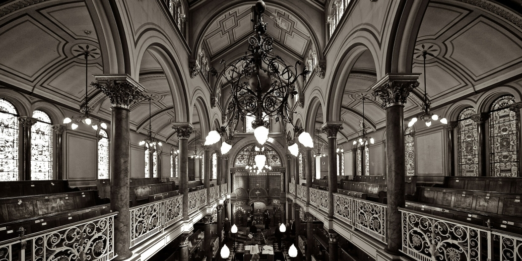 black and white photo of synagogue interior