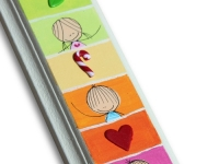 child's mezuzah with cartoon letter shin, characters and symbols